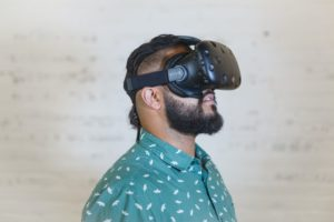 Man wearing a VR Headset at Event